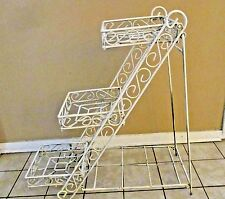 Vintage Mid Century Unique 3 Step Tier Heavy Rustic Off White Metal Plant Stand
