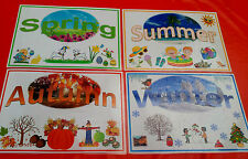 THE FOUR SEASONS- 4 X DISPLAY POSTERS - A4 LAMINATED -TOPIC/ CLASSROOM RESOURCE