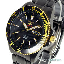 SEIKO 5 SPORTS AUTO ION BLACK & GOLD TONE DIVERS STYLE SRP558J1 SRP558
