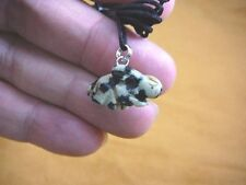 (an-rab-2) BUNNY RABBIT White black spotted carving Pendant NECKLACE FIGURINE