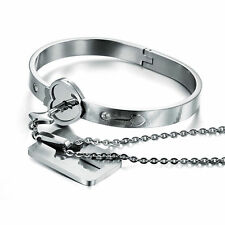Heart Love Bracelet with Lock Key Pendant Titanium Steel Bangle #L Couple Sets