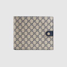 NWT GUCCI Men's classic blue micro GG supreme canvas bifold wallet Made in ITALY
