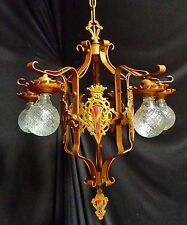 VTG GOTHIC REVIVAL TUDOR ART CRAFT DECO IRON HERALDIC SHIELDS CHANDELIER FIXTURE