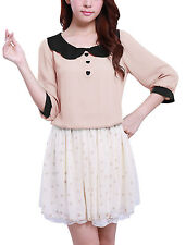 Lady Button Detail Peter Pan Collar 3/4 Sleeve Blouse Tops Pink M