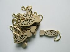 72 Wooden JESUS Fish KEY CHAINS religious FREE SHIP wood keychains church VBS