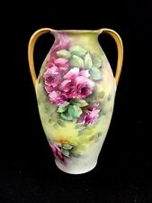 Antique RS Germany Hand Painted Porcelain Floral Small Double Handled Vase 5-1/2