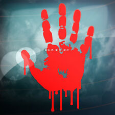 RED BLOODY HANDPRINT Zombie Halloween Car,Window,Bumper,Wall Vinyl Decal Sticker