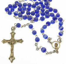 Blue glass cat's eye 6mm beads sheen Rosary beads necklace Catholic silver