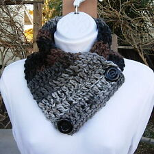 NECK WARMER SCARF Black Gray Grey Brown Soft Crochet Knit Buttoned Winter Cowl