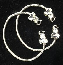 Pair Of Elephant Head Handmade West Indian Sterling Silver Bangles - Baby Size