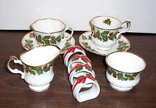 ROSINA QUEENS YULETIDE CREAM & OPEN SUGAR - 2 DIFFERENT CUPS & SAUCERS 4 NAPKIN