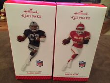 Hallmark Keepsake Ornaments lot of 2 Marcus Allen 2013 KC Chiefs, LA Raiders NFL