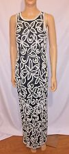 LAURENCE KAZAR Women's Vintage Formal Black White BEADED GOWN Dress Sz SMALL