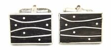 Vintage NYC Modernist ED LEVIN Sterling Silver EBONY WOOD Abstract Cufflinks