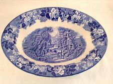 ENOCH WOOD'S ENGLISH SCENERY Oval Serving Bowl Woods Ware England Blue White