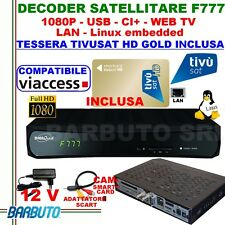 DECODER SATELLITARE HD S2+TIVUSAT HD,COMPATIBILE TV SVIZZERA,DIGIQUEST F777