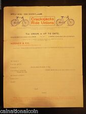 SF, CA Hooker & Co. Crackajacks Ride Unions Vignette Letterhead Order Form 1896