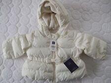 BABY GAP Infant Girls Ivory Peplum Bow Puffer Coat / Jacket Size 0-6 Months
