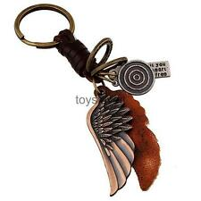 Steampunk Gothic Angel Wing Bronze Split Ring Keyring Key Fob Keychain Gift