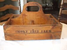 Vintage Farm Wood Tote Carrier Box - Primitive - Peg Corners - Tools - Utensils