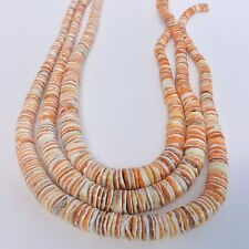 10 Strands Orange White Oyster Shell Graduated 10 - 4 mm heishi Beads 18 Inches