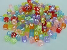 200 pce Square Alphabet / Letter Bead Mix A to Z  6mm x 6mm Mix Colour
