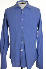 "Harvie & Hudson Mens 15.5"" Blue Glenplaid Style French Cuff Blue LS Dress Shirt"