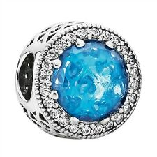 Authentic Pandora Sterling Silver Sky Blue Radiant Hearts Charm 791725NBS