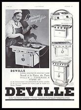 Publicité Gazinière DEVILLE cuisinière ancienne photo vintage  ad  1936 - 3h
