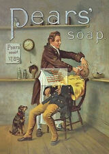 REPRINT PICTURE of old PEARS' SOAP ad GETTING A SHAVE AT THE BARBER SHOP 5x7