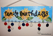 Sunflower Family Birthday Calendar, Personalised Board-Handmade with hearts