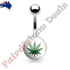 316L Surgical Steel Belly Ring with Green Dope Leaf Logo