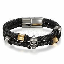 Black Braided Leather Skull Beaded Stainless Steel Buckle Men's Bracelet Cuff