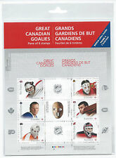 CANADA STAMPS GREAT CANADIAN HOCKEY GOALIES PANE OF 6 STAMPS  MNH