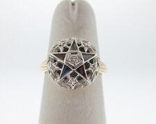 Diamond Multi Color Gems Order of the Eastern Star Masonic 10k Ring FREE Sizing