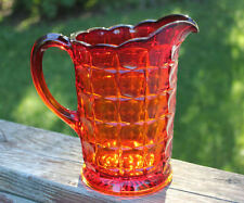"""Constellation"" Pitcher 8"" AMBERINA RUBY RED SUNSET  Indiana Glass Company"