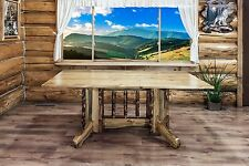 Rustic Log Dining Room Tables Cabin Lodge 6 Foot Amish Made Kitchen Table