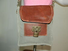 Mona B Locksmith Crossbody Recycled Canvas & Leather Shoulder Bag Purse Tote