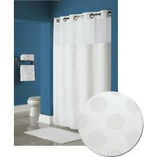 WYNDHAM Hookless Circle Shower Curtain  White, Recycled PET, SNAP OUT LINER