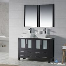 """BLOSSOM 48"""" SYDNEY DOUBLE SINK BATHROOM VANITY WITH VESSEL SINKS IN ESPRESSO"""
