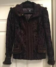 Andrew GN Brown Mink and Cut Velvet Jacket Size M Never Worn