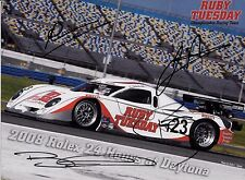 SIGNED by 4 ,   11x8   Ruby Tuesday Racing   Rolex Daytona 24hrs Promocard 2008