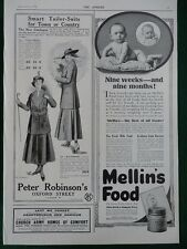 1915 ADVERTS LADIES SUITS, HORLICK'S TABLETS, MELLIN'S FOOD, CHURCH ARMY WW1 WWI