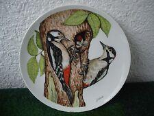 """Goebel- Wandteller Hummelzeichen, Rödental Porzellan """"Buntspecht"""" Vögel 70ger J"""