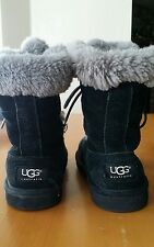 Ugg Australia Black Suede Gray Grey Sheepskin Girls Children Sophy Boots 13