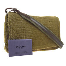 Authentic PRADA MILANO Logos Shoulder Bag Knit Leather Khaki Italy 03W580
