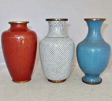 """3 Antique Chinese Cloisonne Vases with Fish Scales & Ruyi  (6.4"""" to 6.1"""")"""