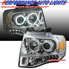2007-2012 FORD EXPEDITION DUAL CCFL HALO PROJECTOR HEADLIGHTS CHROME w/ LED