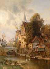 Nice Oil painting sunset landscape & ducks canoe by river village with church