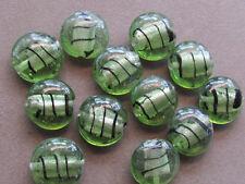 10  Handmade Lampwork Silver Foil Light Green 20mm Beads(G147AK3)
